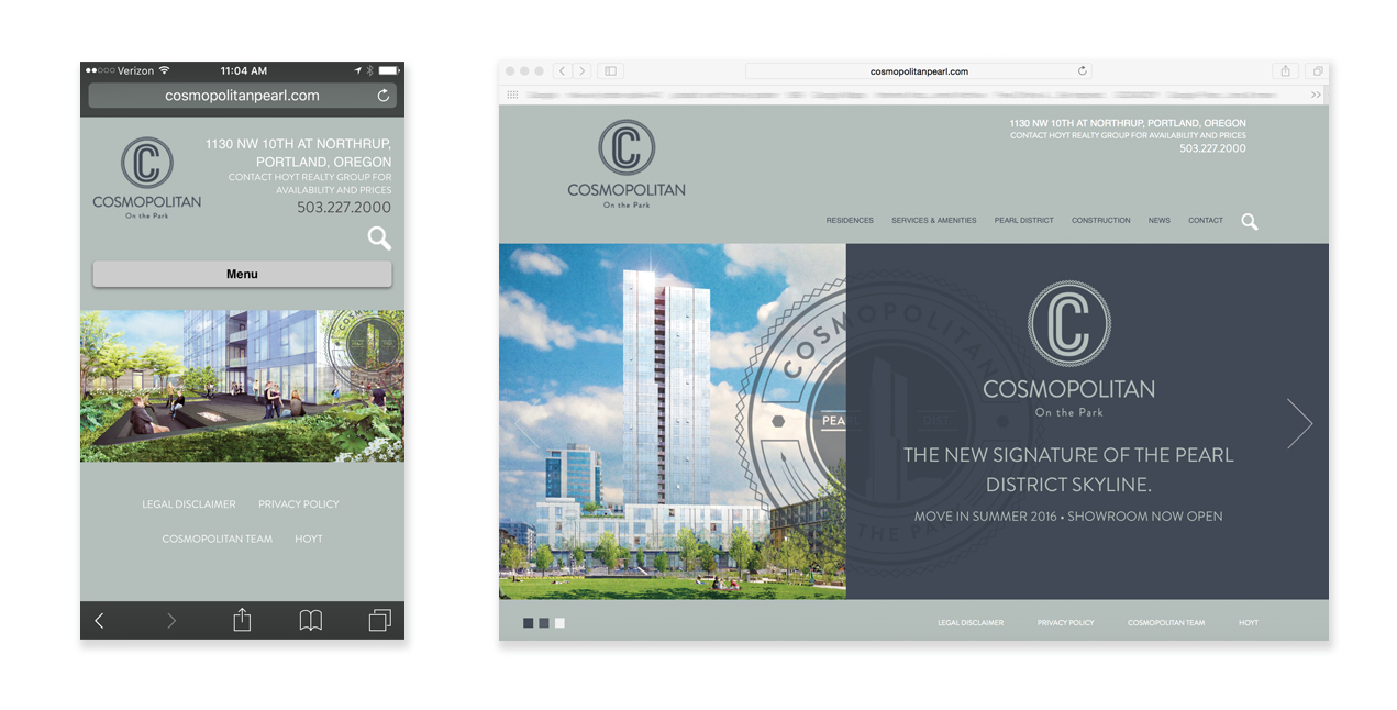 Real Estate Developers: Cosmopolitan Website